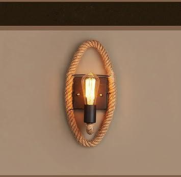 Américain Yali Corde Chanvre Lampe Couloir Rétro Balcon Élégant Pays wOnX0ZNP8k