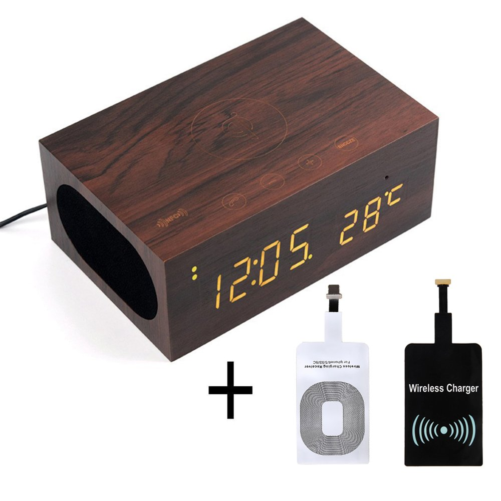 WALTSOM Wireless Charger Speaker, Multi-Function Wooden LED Digital Clock Bluetooth Speaker with Built in Mic, NFC, Temperature/Time Display, Alarm Clock for Smartphones Laptop Home Use (Dark Wood)