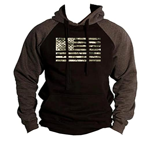 Digital Camo US Flag Men's Black/Charcoal Raglan Baseball Hoodie Sweater Black