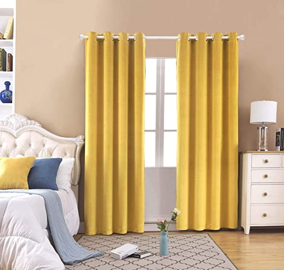 FengChang Blackout Velvet Curtains Yellow Soft Luxury Drapes Window Treatment 2 Panels Yellow