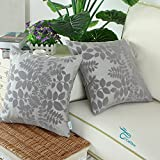 CaliTime Throw Pillow Covers 18 X 18 Inches, Flocking Cute Leaves, Grey Gray, Pack of 2