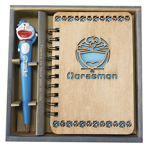 Doraemon Wooden Cover Notebook By Guritta Journals Diary Sketchbook Study Spiral Writing Notebook Wonderful Creative Christmas Kids Gift With Cute Anime Pen Set Light Wood Hardcover