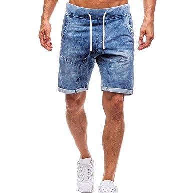 FRAUIT Pantalones Cortos Delgados de Los Hombres Pantalones ...