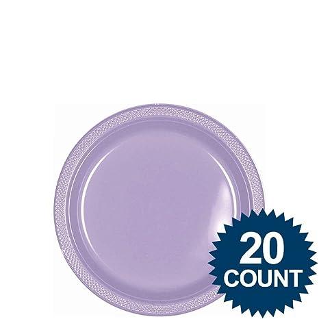 Amscan Party Supplies Lavender Plastic Plates 7u0026quot; (10 Piece) Multi Color  sc 1 st  Amazon.com & Amazon.com: Amscan Party Supplies Lavender Plastic Plates 7