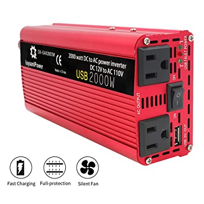 LVYUAN Power Inverter 1000W/2000W(Peak) DC to AC 12V to 110V 1000W Car Inverter DC 12V Inverter with 3.1A USB Car Adapter: Automotive