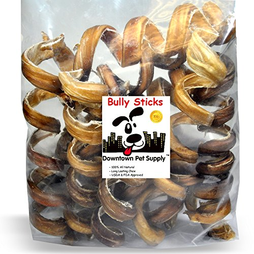 """Downtown Pet Supply 10"""" Thick Curly Bully Sticks for Dogs Made in USA - Odorless Dog Dental Chews Treats Bully Sticks (40 Pack) from Downtown Pet Supply"""