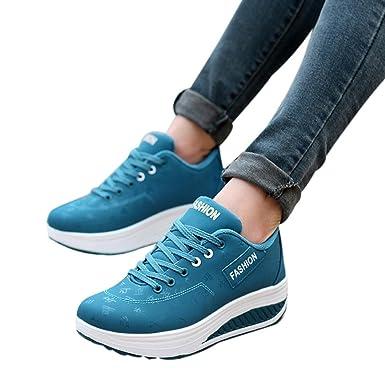 PLOT Damen Sneaker,2018 Sommer Einfarbig Plateauschuhe Keilabsatz Schuhe  Plateau Schuhe Damen Freizeitschuhe Sportschuhe Damen f4aca0d5b1