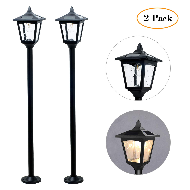 greluna solar lamp post lights outdoor powered vintage street for