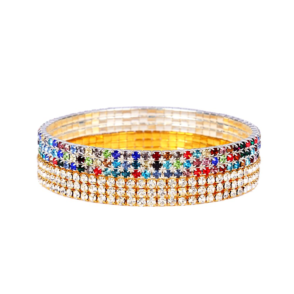 NASAMA 2pcs 3 Row Women Crystal Rhinestone Stretchy Elastic Tennis Anklet Charm Sexy jewelry (Gold+colorful)
