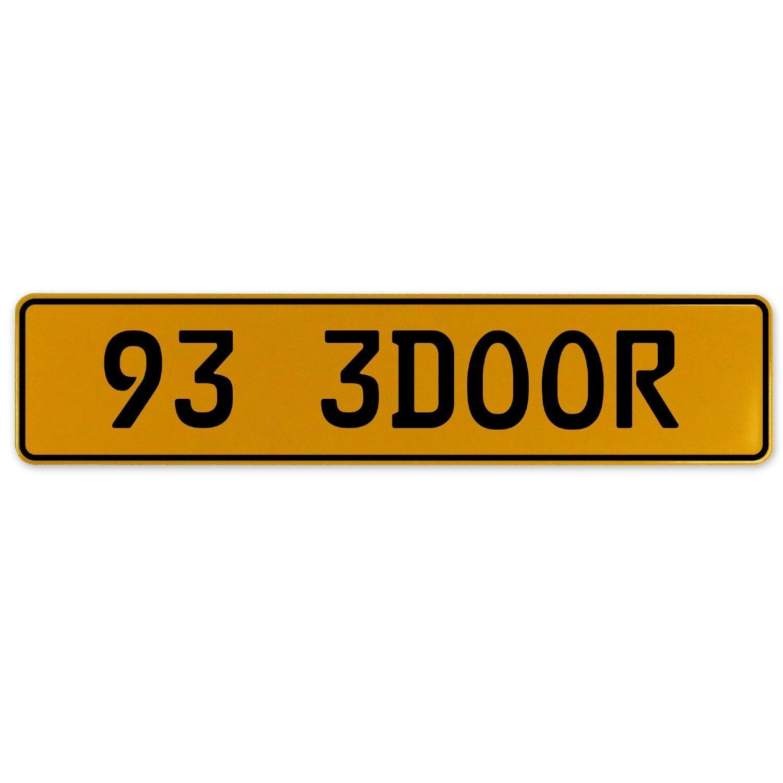 Vintage Parts 563106 93 3DOOR Yellow Stamped Aluminum European Plate