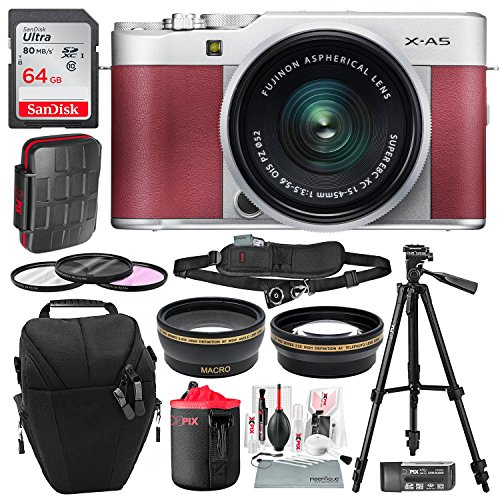 Fujifilm X-A5 Mirrorless Digital Camera (Pink) with 15-45mm Lens Bundled with 64GB Card, Xpix Water-Resistant Card Case, Stable Tripod, Wide-Angle + Telephoto Lens Deluxe Bundle