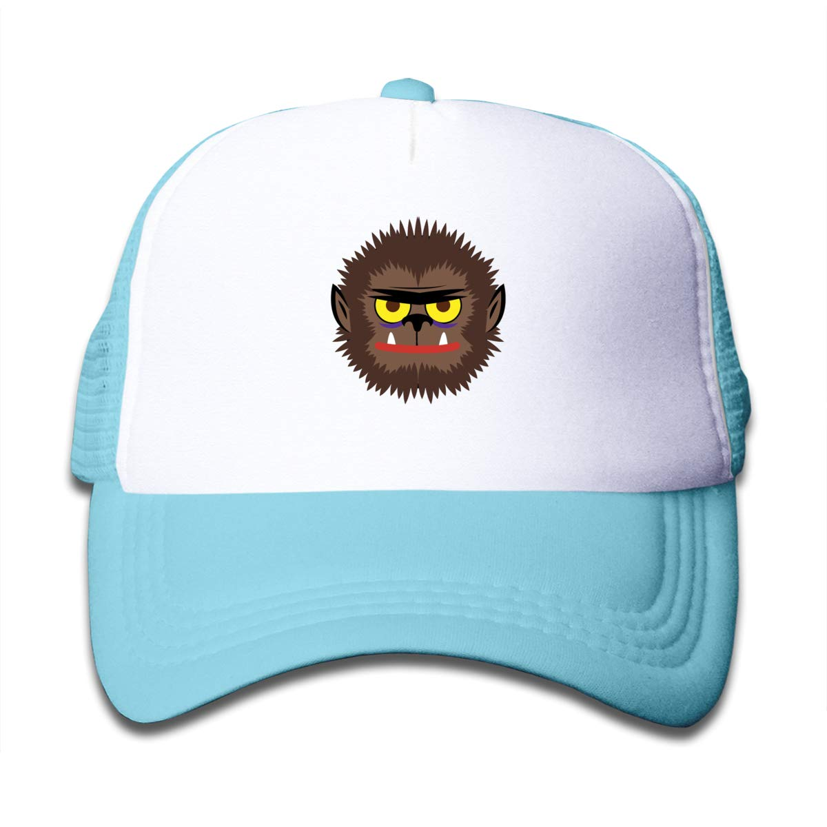 8b02be97057 Amazon.com  Cartoon Werewolf Head Mesh Baseball Caps Kid s Adjustable  Trucker Hat Sky Blue  Clothing