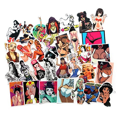 FNGEEN Sexy Women Stickers Pack [50pcs] Laptop Stickers Bomb Beauty Pinup Girls Stickers and Decals Vintage Retro Stickers for Luggage Skateboard Phone Case Guitar Car Bike Bumper (Sexy Stickers-2)
