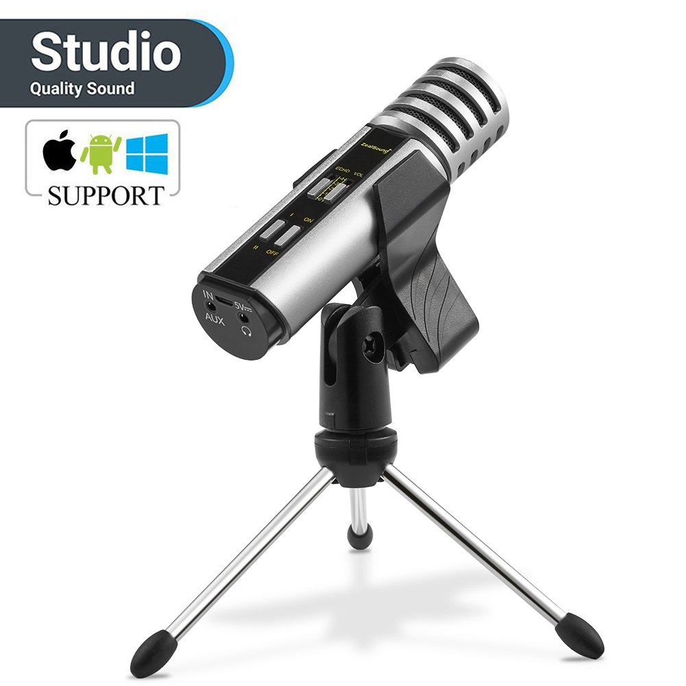Studio Recording Microphone, ZealSound Condenser Microphone with Built-in Sound Card and Echo Effect, Vocal Recording Computer Microphone w/Tripod Stand for PC Laptop Tab Phone YouTube Smule (Silver)