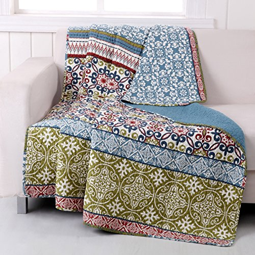 Finely Stitched Boho Bohemian Lap Throw Blanket Print Geometric Pattern Mandala Blue Green 100 Cotton Luxury Reversible Bedding - Includes Bed Sheet Straps ()