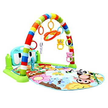 228d93b0d1362 Amazon.com   Cartoons Fitness Frame Activity Gym Musical Piano Toy Newborn  Crawling Playing Mat Baby Educational Toys (Green)   Baby