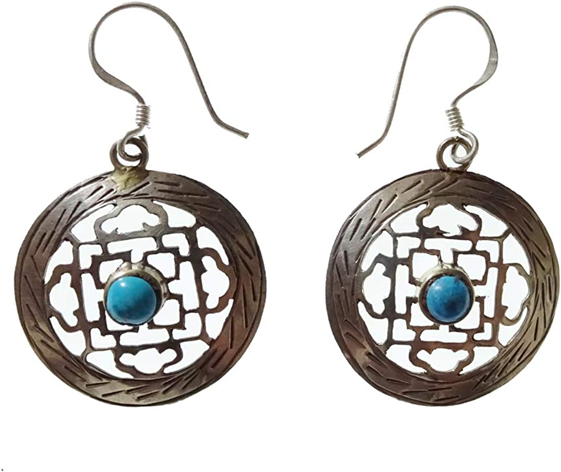 Pendiente de piedras preciosas de color turquesa para las mujeres de las mujeres, filigrana de corte fino Pendientes de trabajo Caída ligera Cuelga el pendiente Moda Étnica Tribal Plateado Pendiente