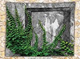 Mystic House Decor Fleece Throw Blanket Ivy on Wall with Aged Antique Empty Picture Frame as Window Creative Art Throw Green Charcoal
