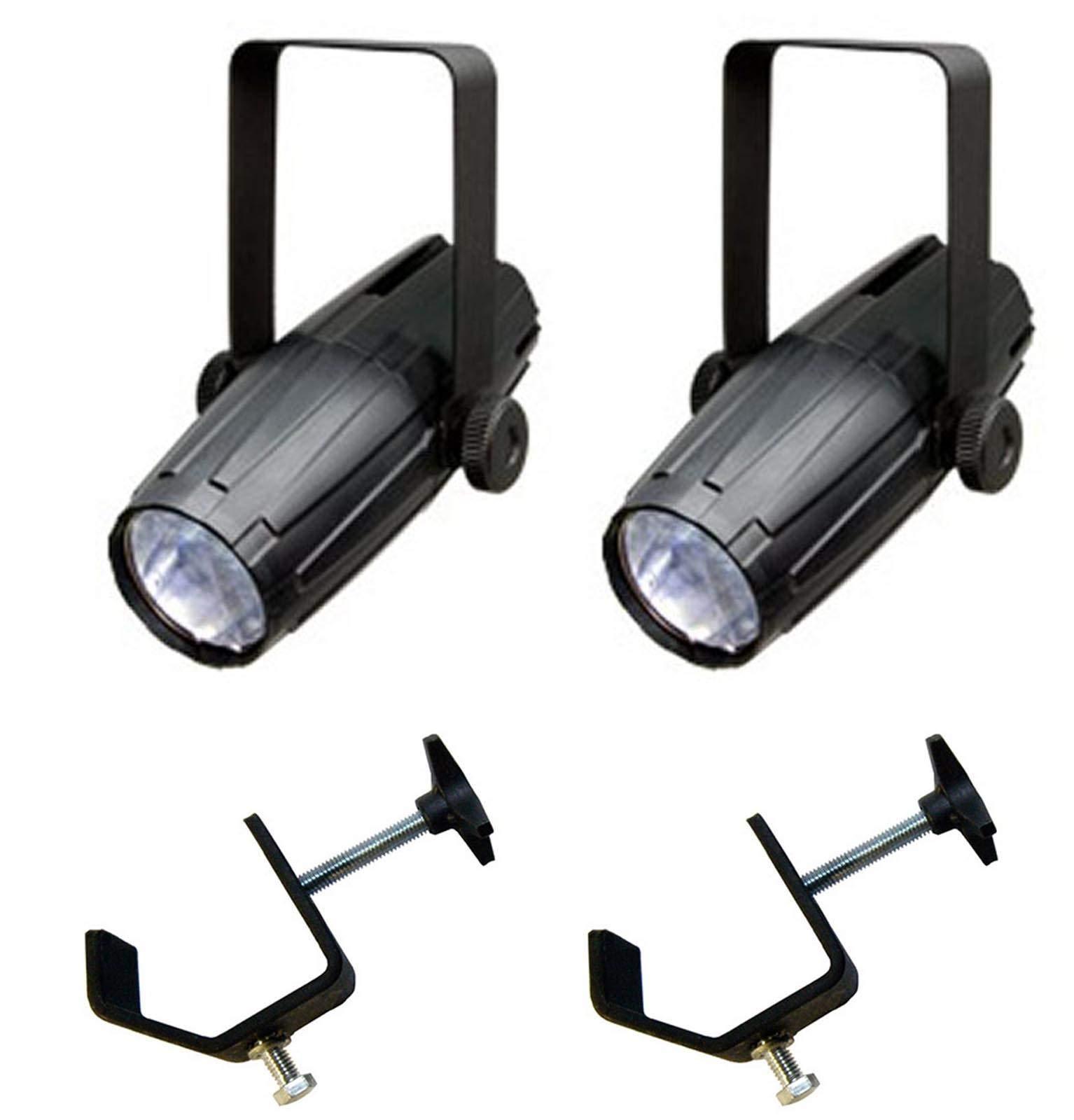 (2) CHAUVET LED PINSPOT 2 High-Powered 3W DJ Mirror Ball Spotlights w/ C-Clamps by CHAUVET DJ