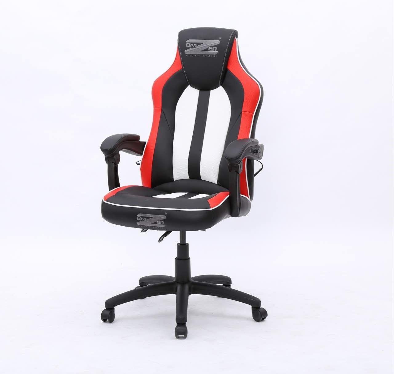 BraZen Stealth 4.0 Surround Sound Bluetooth PC Gaming Chair Black/White/Red 17925