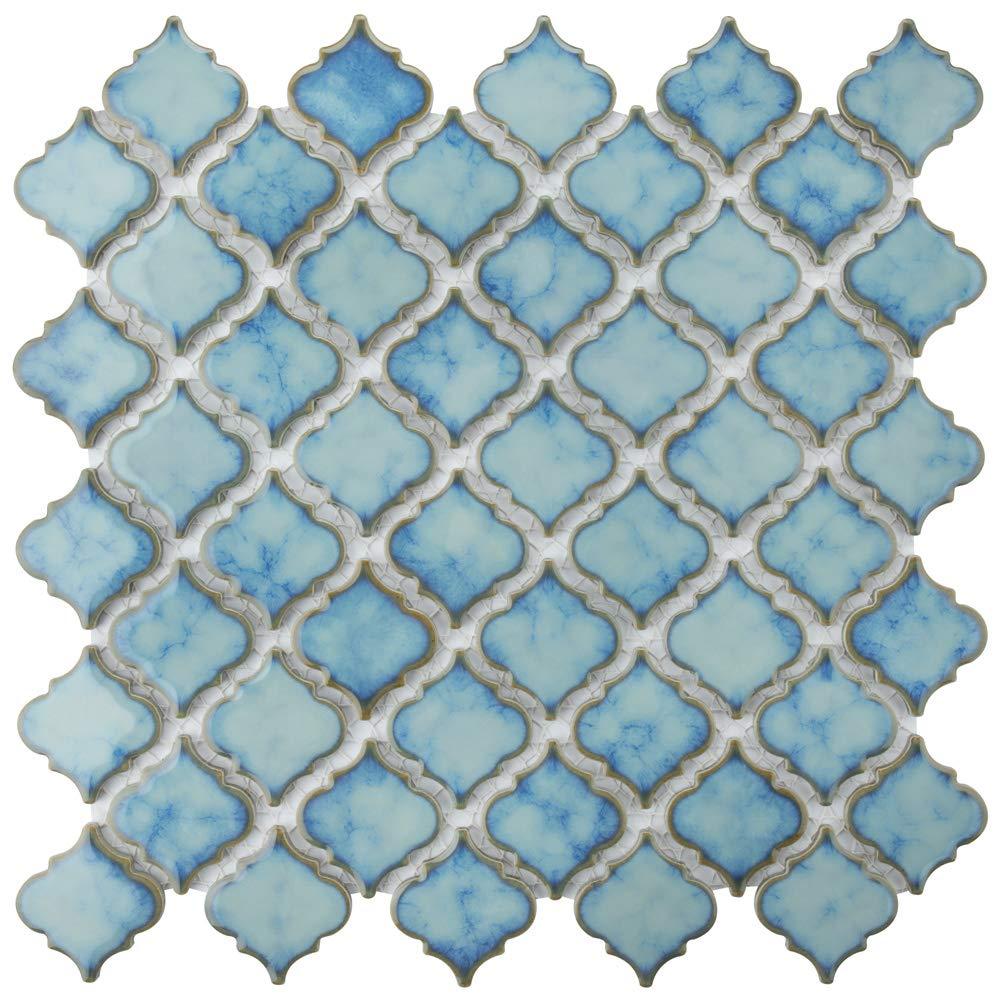 SomerTile FKOLTR33 Tinge Marine Porcelain Floor and Wall Tile, 12.375'' x 12.5'', Blue by SOMERTILE