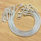 BSI - Pack of 5 Pcs 8 Inches Snake Chain Fits Pandora Chamilia Troll Biagi Beads, Silver Plated Brass Charm Bracelet Chains w/ Screw End