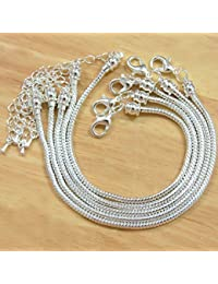 BSI - Pack of 5 Pcs Silver Plated Snake Chain Fits Pandora Chamilia Troll Biagi Beads, 5 Pcs Silver Plated Brass Charm Bracelet Chains w/ Screw End