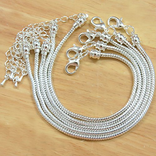 BSI - Pack of 5 Pcs 8 Inches Snake Chain Fits Pandora Chamilia Troll Biagi Beads, Silver Plated Brass Charm Bracelet Chains w/ Screw (Bead Station Bracelet)
