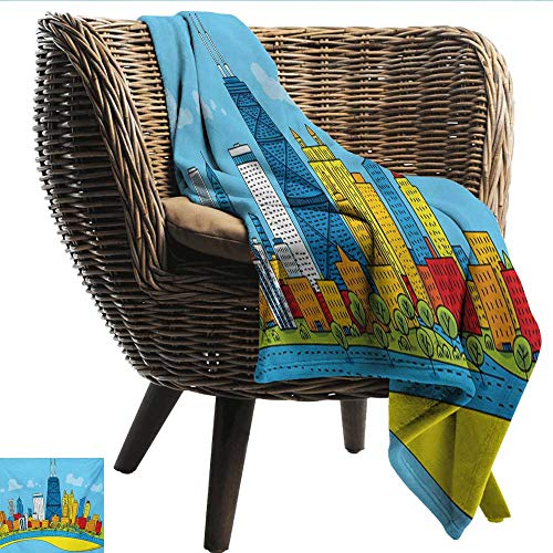 - EwaskyOnline Chicago Skyline Knee Blanket Cute Cartoon Style Childish City View with Colorful Buildings Caricature Camping Throw,Office wrap 60