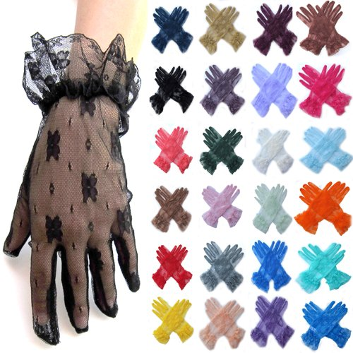 SACAS Short Wrist Sexy Bridal Wedding Lace Formal Gloves with 27 colors