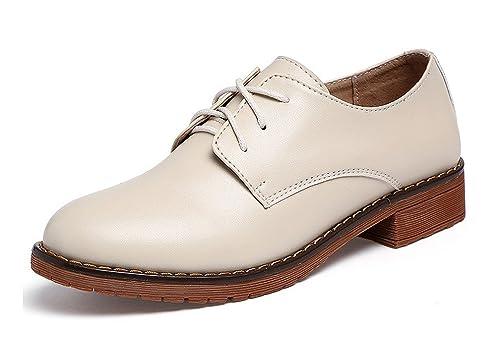c4961a743460d Scarpe Stringate Derby Bambina Oxford Pelle Elegante Scarpe Basse Mocassini  Nero Marrone Beige 34-39