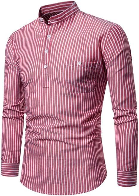 MUMU-001 Camisa a Rayas de Feitong Camisa de Moda de otoño para Hombre Camisa Casual de Manga Larga a Rayas Hombre Camisa Suelta Camisa Informal: Amazon.es: Deportes y aire libre