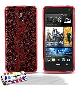 """Carcasa Flexible Ultra-Slim HTC ONE MINI de exclusivo motivo [Encaje negro] [Roja] de MUZZANO  + 3 Pelliculas de Pantalla """"UltraClear"""" + ESTILETE y PAÑO MUZZANO REGALADOS - La Protección Antigolpes ULTIMA, ELEGANTE Y DURADERA para su HTC ONE MINI"""