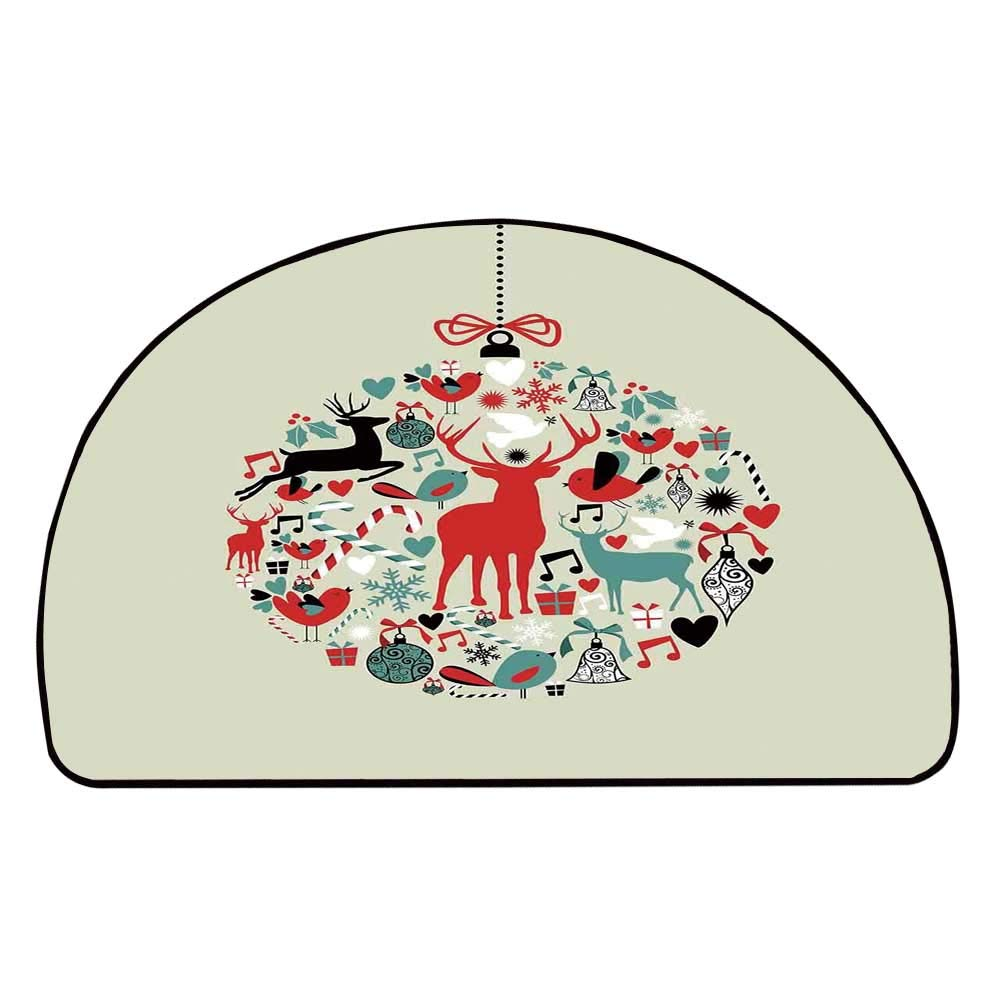 C COABALLA Christmas Decorations Comfortable Semicircle Mat,Traditional Season Decorative Christmas Themed Design Abstract Art for Living Room,11.8'' H x 23.6'' L