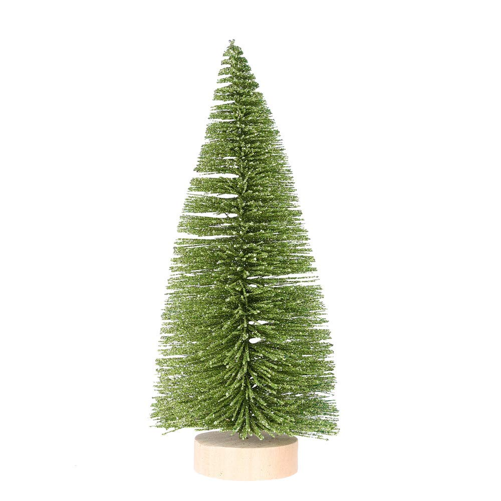 Iuhan  Christmas Decorative Tree Desk Decoration Christmas Tree Mini Light Green Pine Tree with Wood Base DIY Craft Table Decor with Wood Base (15CM)