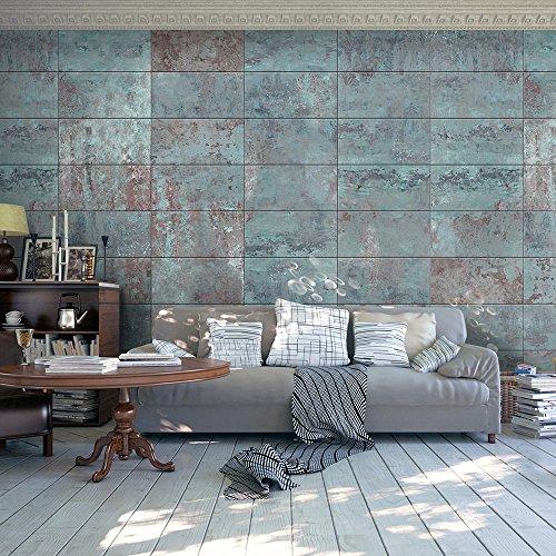 PURO TAPETE - 3 Motive zur Auswahl - Realistische Betonoptik Tapete ohne Rapport und Versatz ! Kein sich wiederholendes Muster ! 10m VLIES Tapetenrolle Beton Stein Mozaik Wand Mauer blau f-A-0161-j-b