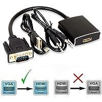 Giveet 1080P VGA a HDMI convertidor Adaptador (Macho a Hembra) para Ordenador, Escritorio, Ordenador portátil, PC, Monitor, proyector, HDTV con Cable de Audio y Cable USB (aleación de Aluminio)