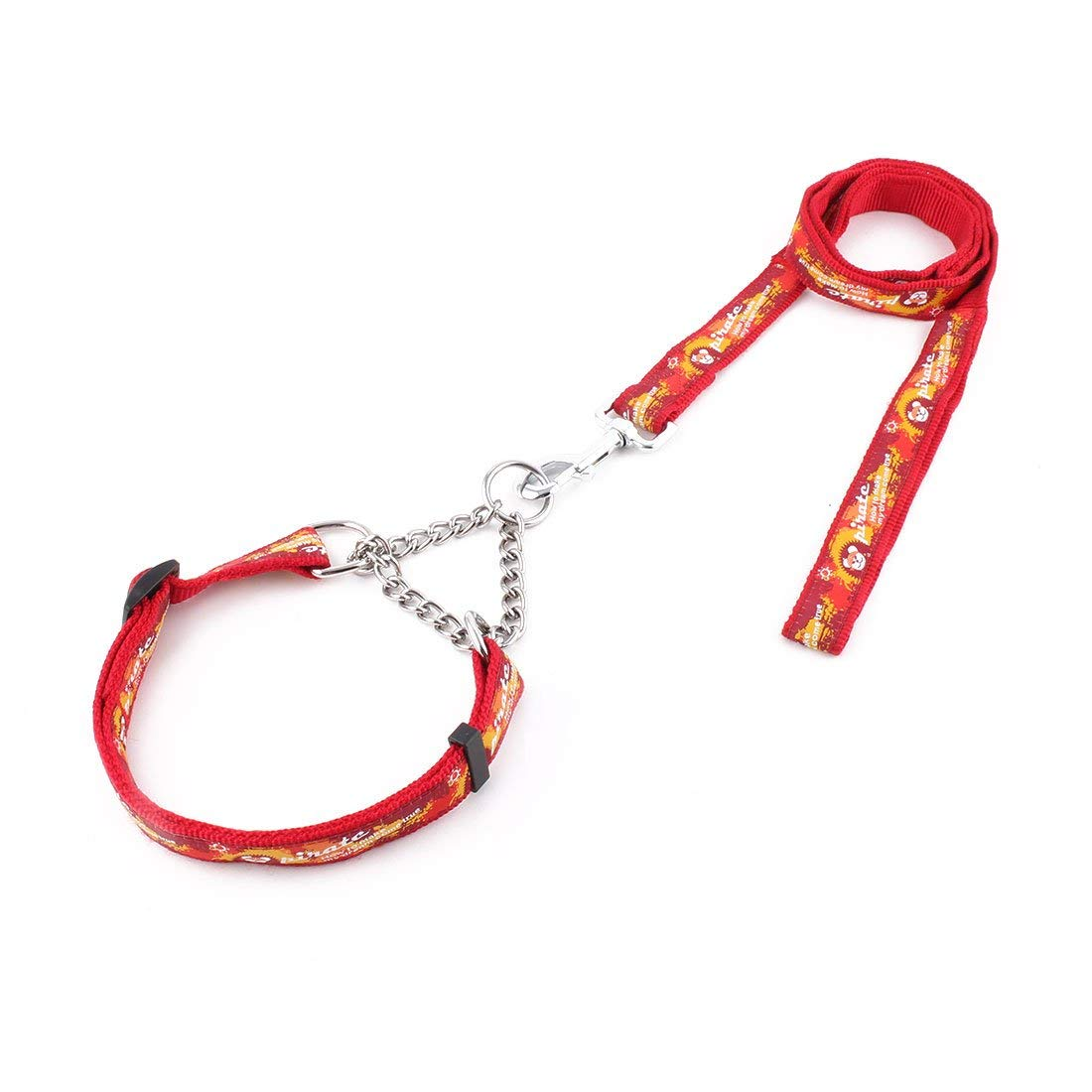 Nylon Pet Dog Pirate Pattern Neck Collar Training Lead Traction Rope Leash Red