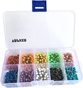 VAPKER 500 PCS 1/8 Inch Round Head Map Tacks Pins Stainless Point with 10 Assorted Colors Map Tacks(Each Color 50 Pcs)
