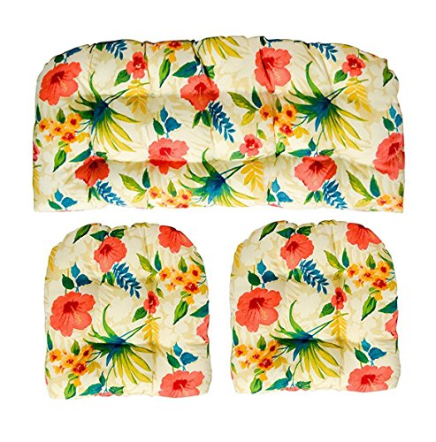RSH Decor 3 Piece Wicker Cushion Set - Indoor/Outdoor Made with Tommy Bahama Pool Party Fabric Pink Blue Green Tropical Floral Cushion for Wicker Loveseat Settee & 2 Matching Chair Cushions