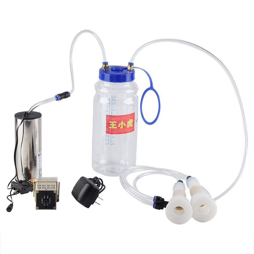2L Portable Electric Milking Machine Milker Cow Sheep Goat Milking Machine Manual Pump One Quart One Teat Milker Claw Milking Teat Cups Goat Sheep Milking Machine (Cow Milking Machine) Yosooo