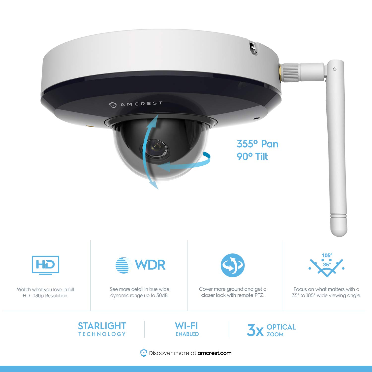 Amcrest ProHD 1080P PTZ WiFi Camera, 2MP Outdoor Vandal Dome IP Camera 3X Optical Zoom IK08 Vandal-Proof, IP66 Weatherproof, Dual Band 5ghz 2.4ghz, 2019 Updated Firmware, Pan Tilt IP2M-866W White