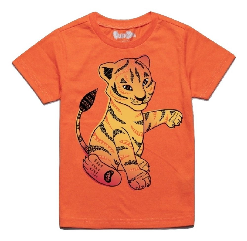 Peek-A-Zoo Toddler Short Sleeve Tshirt - Tiger Orange - 5T