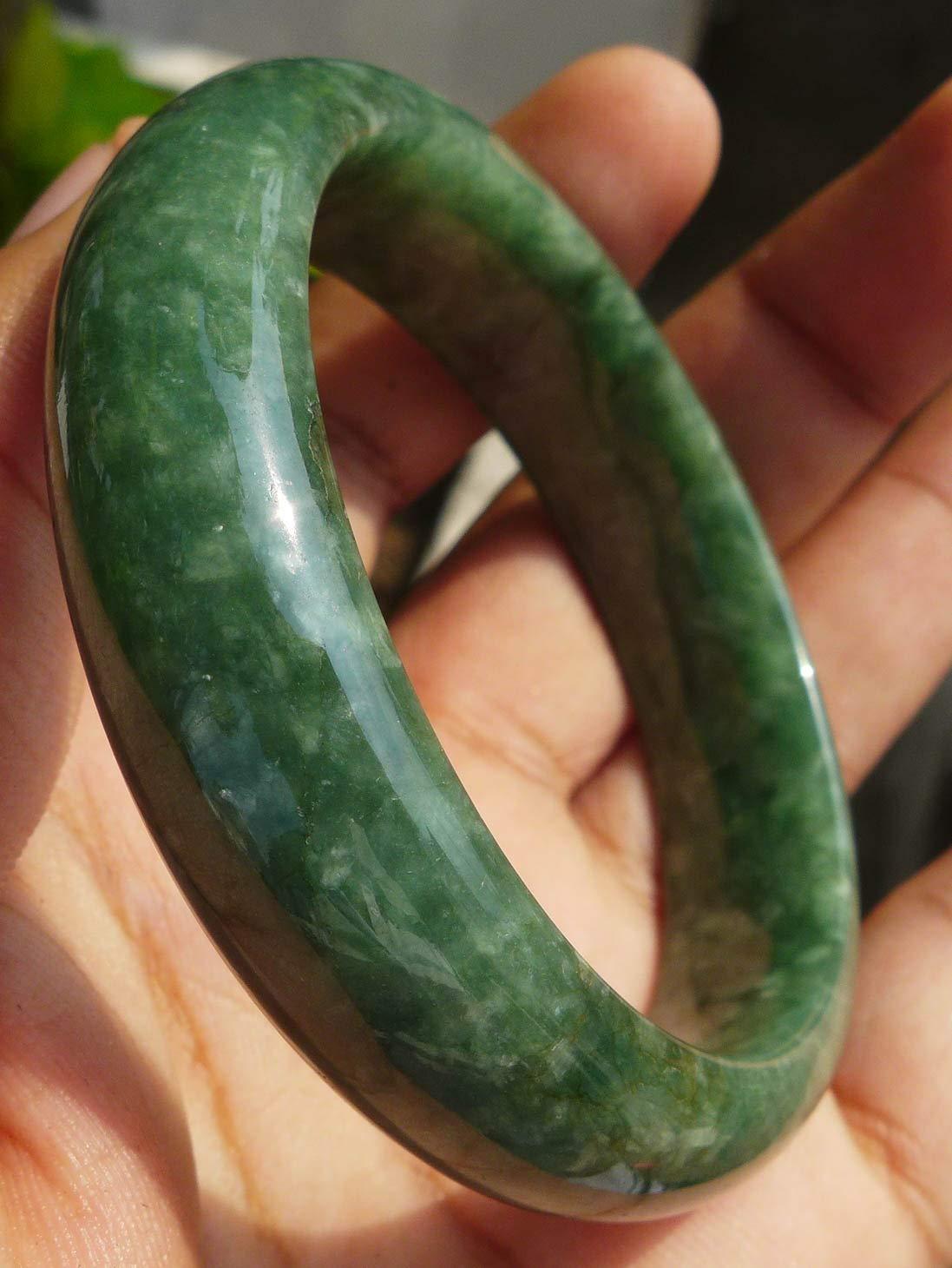 Natural Grade A Jadeite Jade Bracelet Bangle Intense Green Opaque Texture 55 mm