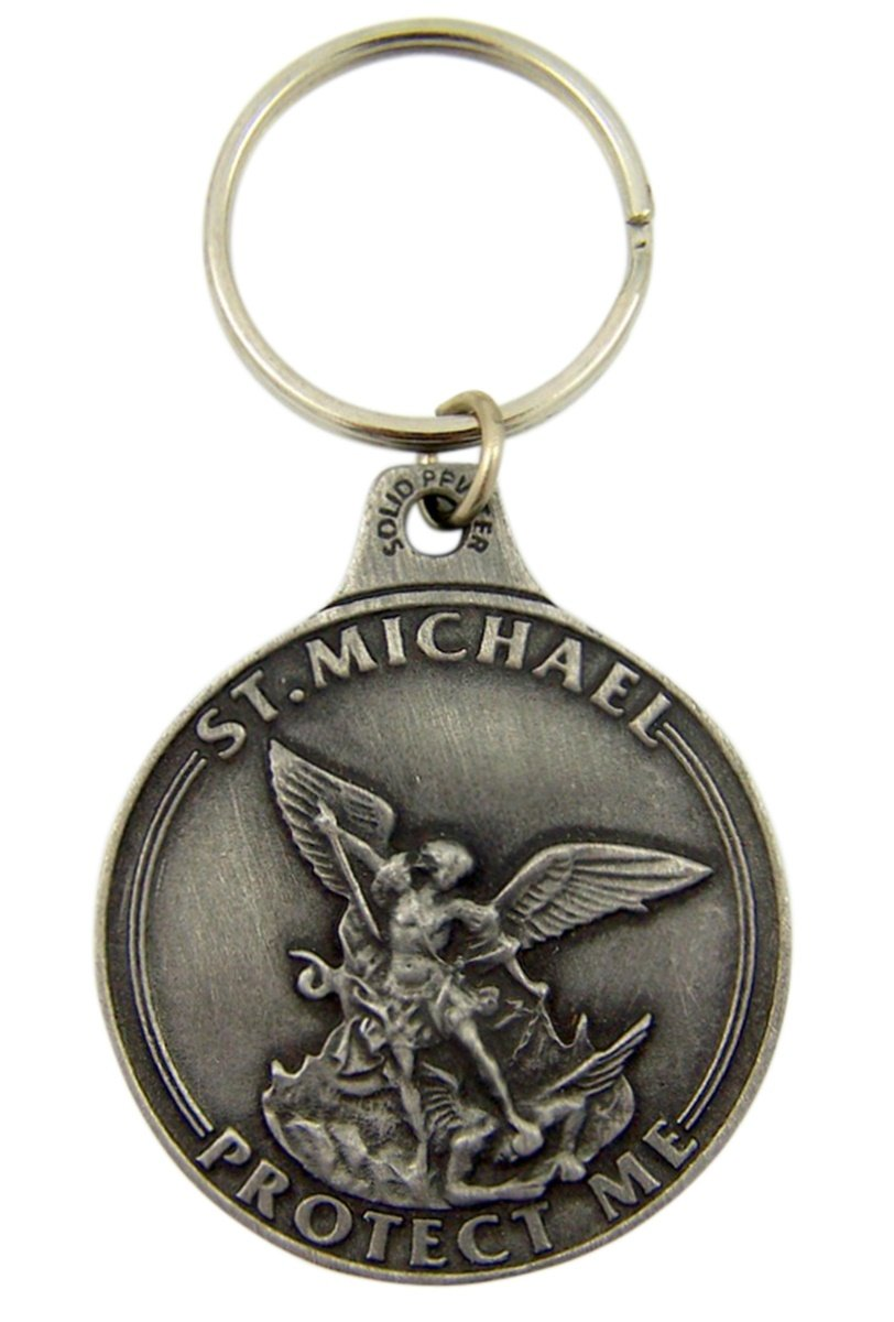 1 7//8 Inch Singer Co SK274 Fine Pewter United States Air Force Saint Michael Medal Key Chain