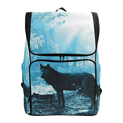 83bc914cd64f Amazon.com: Laptop Backpack Wolf Forest College Backpack for Men Big ...