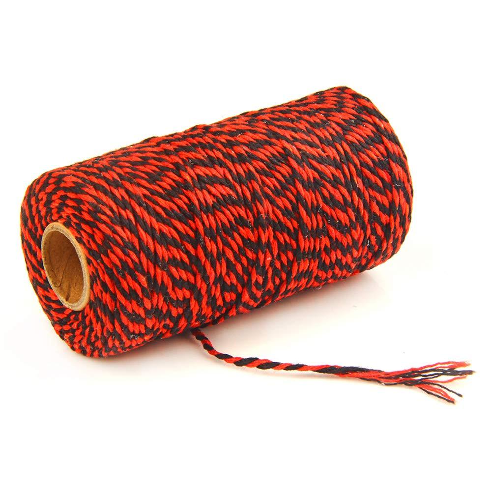 sch/öne DIY Handwerk Orange//Wei/ß zweifarbig Geschenkverpackung 100 m L/änge gewickelt modisch UIYU zweifarbige Baumwollschnur multifunktional Free Size Dekoration traditionelle B/äckerschnur