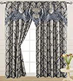 """Blue Curtain Panel with Attached Waterfall Valance 54"""" X 84"""" Tkdecor"""