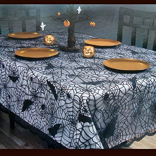 certainPL Rectangular/Round Polyester Lace Tablecloth, Black Spider Web, Perfect for Halloween, Dinner Parties and Scary Movie Nights (61x85inch) -