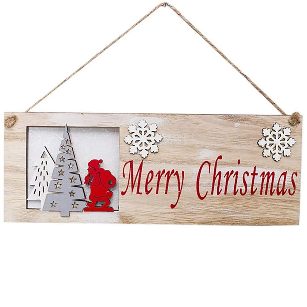 Queta Creative Christmas Quadrato in Legno da Appendere alla Porta Ciondolo Pendente a Forma di Albero di Natale in Legno Dipinto 房子